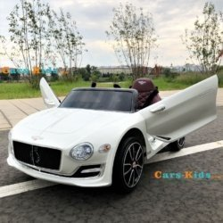 Электромобиль Bentley EXP12 белый (колеса резина, кресло кожа, пульт, музыка)