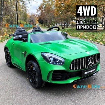 Электромобиль Mercedes-Benz GT R MP3 - HL289-4WD зеленый матовый (2х местный, колеса резина, кресло кожа, пульт, музыка, кондиционер)